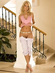 Hot Blonde With Super Model Looks Shows Her Pink